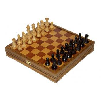 Шахматы+шашки классические средние деревянные утяжеленные