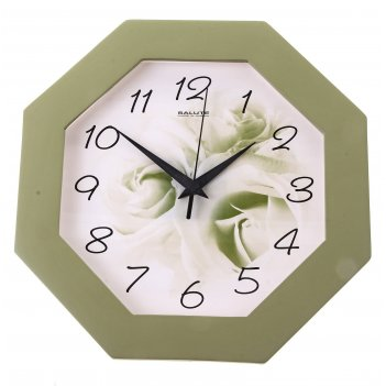 Часы настенные цветок, деревянные, зеленые
