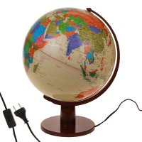 Глобус сувенирный с подсветкой на подставке, политическая карта, англ., яз