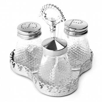 Набор для специй солонка/ перечница/ баночка для горчицы на металлической