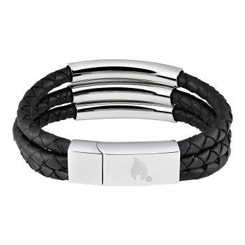 Браслет zippo, чёрный, нержавеющая сталь/натуральная кожа, 22x1,85x0,80 см