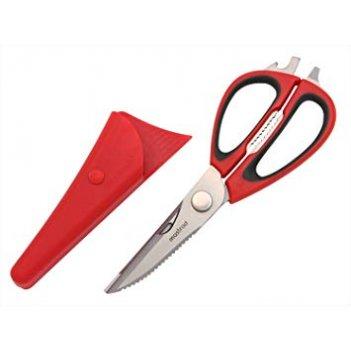 Ножницы mastrad кухонные мультифункциональные с магнитным держателем, цвет