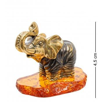Am-1864 фигурка слон доминикана (латунь, янтарь)