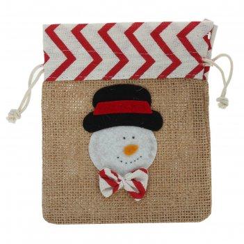 Мешок для подарков новогодний с завязками, виды микс