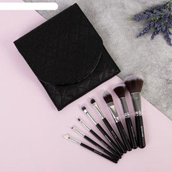 Набор кистей для макияжа элегант, 8 предметов, 18,5*16,5*2см, цвет чёрный
