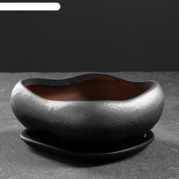Фигурное кашпо бонсай малый серебро 17х14х7см