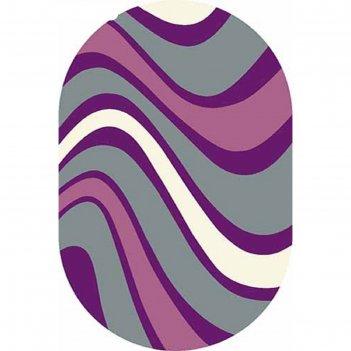 Ковёр фризе пп sunrise v802, 2*5 м, овал, gray-lilac
