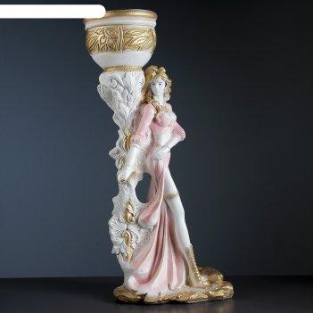 Фигурное кашпо девушка диана белое золото 80см