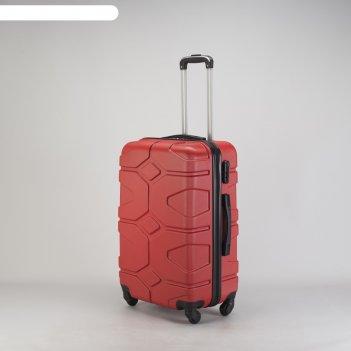 Чемодан средний 24, отдел на молнии, кодовый замок, 4 колеса, цвет красный