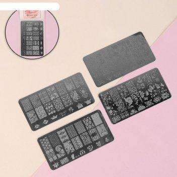 Набор дисков для стемпинга металл №4 4шт 12*6см пакет qf
