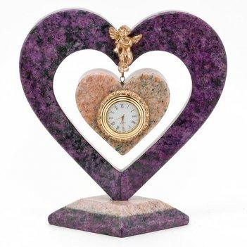 Часы сердце с ангелом камень змеевик, мрамор