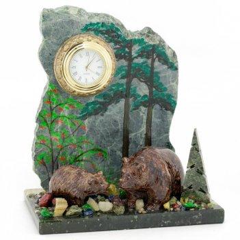 Часы медведица с медвежонком змеевик