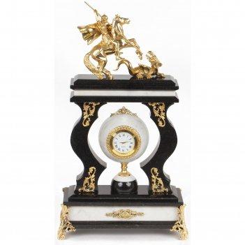 Часы георгий победоносец мрамор змеевик бронза 230х105х385 мм 5400 гр.