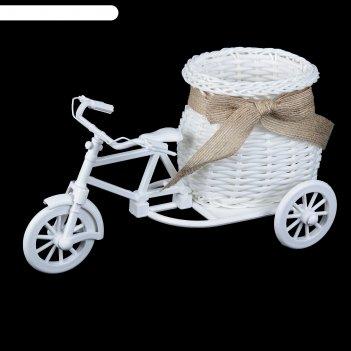 Корзина декоративная эко-лайф велосипед с вазоном 11,5х23х12 см