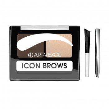 Тени для бровей art-visage icon brows, с кисточкой и пинцетом, тон 423