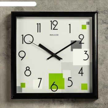 Часы настенные квадратные хайтек. цветные кубики, рама чёрная