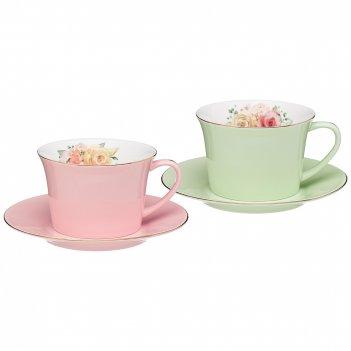 Кофейный набор lefard времена года 180 мл 4 пр. на 2 пер. розовый-мятный (