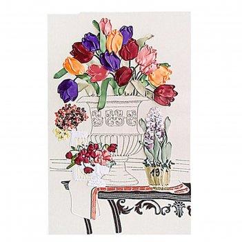 Набор для вышивания лентами тюльпаны в вазе размер основы 65*45 см