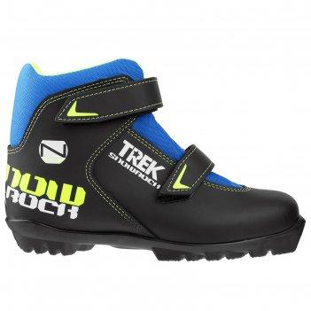 Ботинки лыжные trek snowrock nnn 2 ремня, цвет чёрный, лого лайм неон, раз