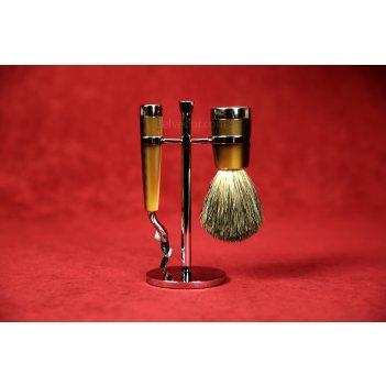 Бритвенный набор liscio, смола, цвет рога, барсучий ворс, бритва mach3