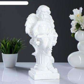 Фигура ангел на колонне с книгой малый белый