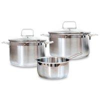 Набор посуды из 3-х предметов, материал: нержавеющая сталь, стекло, цвет: