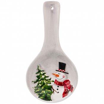 Подставка под ложку коллекция веселые снеговики 24*12*3 см