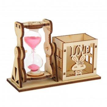 Часы песочные. серия фанера. подставка-зайчик, love 9*13см