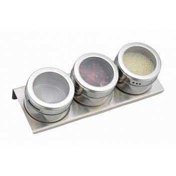Набор для специй agness 4 пр.на магнитах, в т.ч. метал.подставка 20*6*5 см
