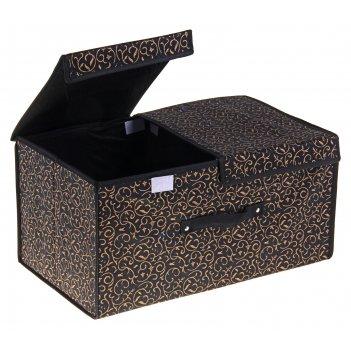 Короб для хранения с двойной крышкой роскошь, цвет чёрно-золотой