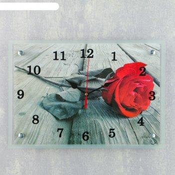 Часы настенные прямоугольные красная роза, 25х35 см