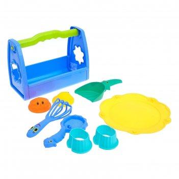 Песочный набор глазастики-2 8 предметов: переноска, тарелка, 2 формочки, г