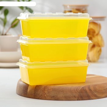 Набор контейнеров для заморозки 1 л zip, 3 шт, цвет желтый