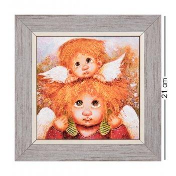 Ang-772 панно керамическое ангелы семейной любви 15х15
