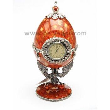 Часы-шкатулка из янтаря державная (серебро)