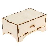 Шкатулка для декора прямоугольная с ящиком 16,5х7,5х10,5 см (80705)