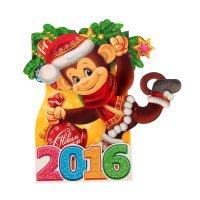 Открытка сложнотехническая с новым годом! год обезьяны, блестки
