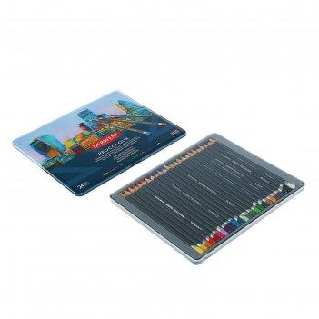 Карандаши художественные цветные derwent procolour, 24 цвета, в металличес