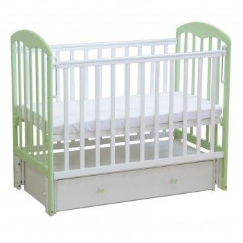 Кроватка детская «фея 328» белая-мята