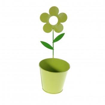 Кашпо оцинкованное настенное цветок 28*10 см, салатовое