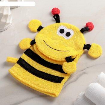 Мочалка варежка детская пчёлка