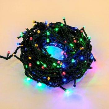 Гирлянда 180 led, цветное свечение, зеленый провод