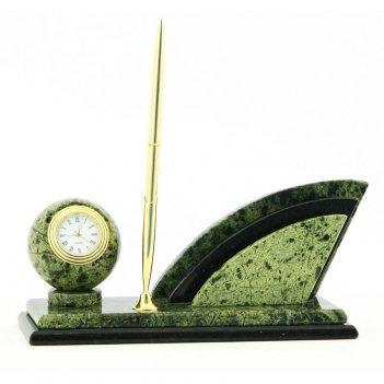Письменный мини-набор с ручкой камень змеевик