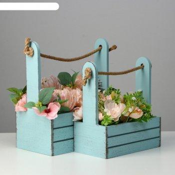 Набор кашпо деревянных 2 в 1 (25.5x15x30; 20x12x23) прованс, серо-голубой