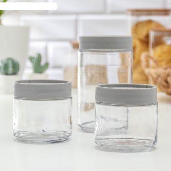 Набор банок для сыпучих продуктов «модерн», 3 шт, цвет серый