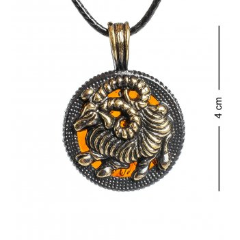 Am-1184 подвеска знак зодиака-овен (латунь, янтарь)