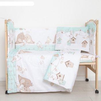 Комплект в кроватку (6 предметов) любящие птенчики, цвет мята, бязь, хл100