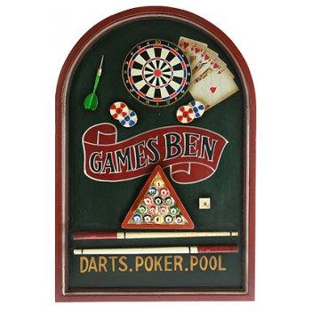 Коллаж дартс, покер, бильярд 60*40см