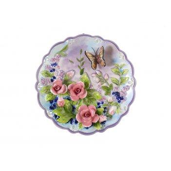Тарелка настенная декоративная бабочка диаметр=20 см высота=3 см (кор=24шт