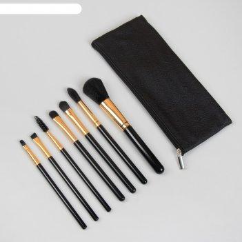 Набор кистей д/макияжа 7пр classic футляр на молнии чёрн кисти чёрн/золот